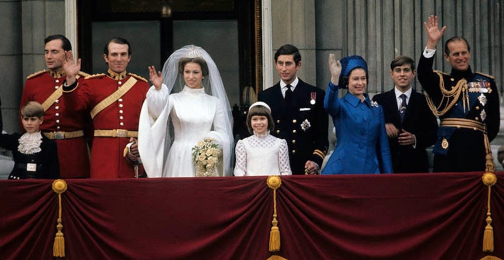 Princess Anne and Captain Mark Phillips on the Buckingham Palace balcony in 1973 1