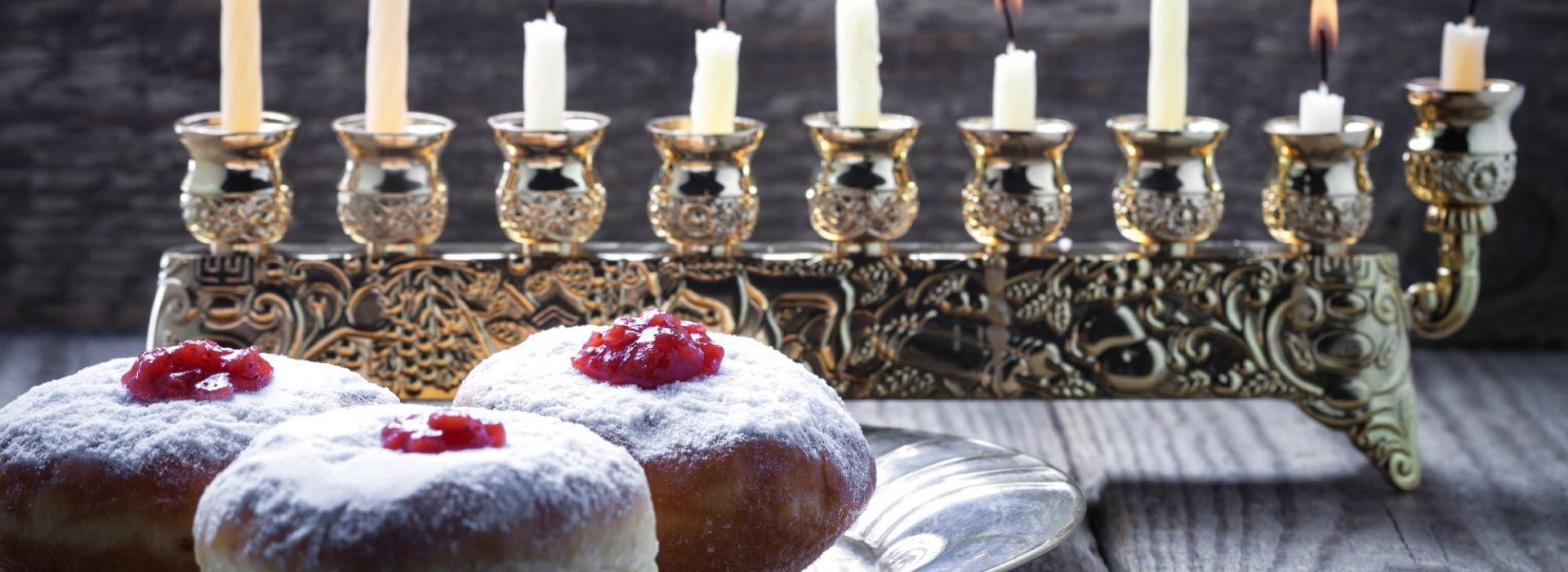 Hanukkah Desserts Blog Image. Image du blog desserts d'Hanoukka.